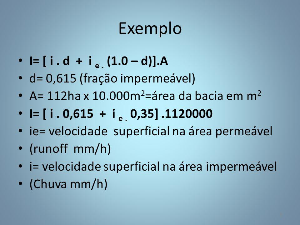 Exemplo I= [ i . d + i e . (1.0 – d)].A d= 0,615 (fração impermeável)